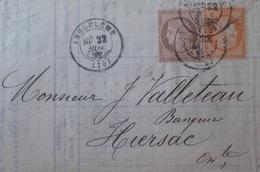 R1286/149 - CERES N°54 + 38 Sur ✉️ ANGOULEME (Charente) 22 NOVEMBRE 1876 à HIERSAC (Charente) - 1871-1875 Cérès