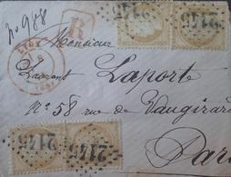R1286/156 - CERES N°59 (x4) Sur ✉️ (LR) LYON 8 JANVIER 1874 à PARIS (Cachets ROUGES Pour LYON Et PARIS) - 1871-1875 Cérès