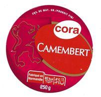 ETIQUETTE De FROMAGE Cartonnée..CAMEMBERT Fabriqué En NORMANDIE..CORA - Cheese