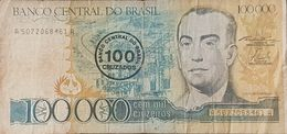 RS - Brazil 100 Cruzados On 100,000 Cruzeiros Banknote 1986 - Brazil