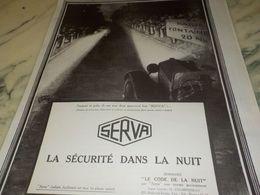 ANCIENNE PUBLICITE LA SECURITE DANS LA NUIT SERVA 1925 - Transportation