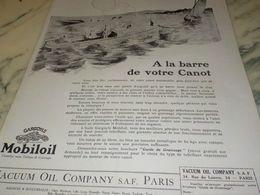 ANCIENNE PUBLICITE A LA BARRE DE VOTRE CANOE  HUILE MOBILOIL 1925 - Transportation