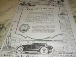 ANCIENNE PUBLICITE  POUR LES TOURISTES  HUILE MOBILOIL 1925 - Transportation