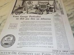 ANCIENNE PUBLICITE  VOTRE GARAGE PARTICULIER  HUILE MOBILOIL 1925 - Transportation