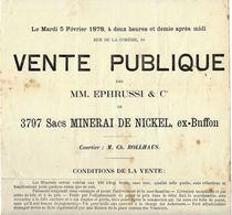 JUDAICA  FAMILLE  EPHRUSSI   ET ROTHSCHILD VENTE PUBLIQUE NICKEL  LE HAVRE 1878 NAVIRE LE BUFFON B.E. V.SCANS - France