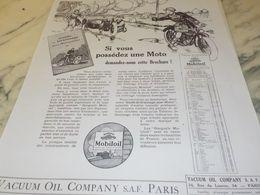 ANCIENNE PUBLICITE  SI VOUS POSSEDEZ UNE MOTO  HUILE MOBILOIL 1925 - Transportation