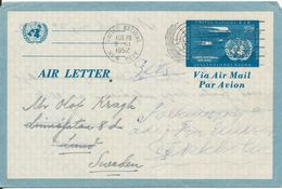 United Nations New York Aerogramme Air Letter Sent To Sweden 29-8-1952 - Poste Aérienne