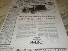 ANCIENNE PUBLICITE LA VIE DE VOTRE VOITURE  HUILE MOBILOIL1925 - Transportation