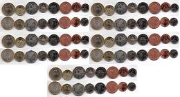 Jersey - 5 Pcs X Set 6 Coins 1 2 5 10 20 50 Pence 2012 - 2016 UNC Lemberg-Zp - Jersey