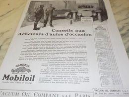ANCIENNE PUBLICITE CONSEIL ACHETEURS D AUTOS  HUILE MOBILOIL 1925 - Transportation