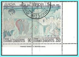 GREECE-GRECE- HELLAS - EUROPA CEPT 1993:  Se Tenant -  Perforated All Aroud- Compl Set  Used - Greece