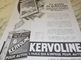 ANCIENNE PUBLICITE GUIDE DE GRAISSAGE  HUILE KERVOLINE 1925 - Transportation