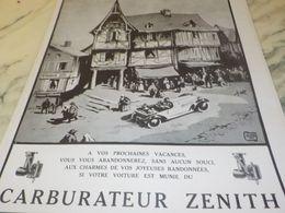 ANCIENNE PUBLICITE VOS PROCHAINES VACANCES MOTEUR CARBURATEUR ZENITH 1925 - Transportation