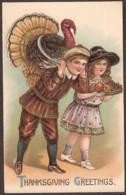 Thanksgiving Greetings - Vintage Card - Geprägt - Embossed - Turkey - Thanksgiving