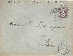 "Motiv Brief  ""Banque Du Jura, Delémont"" - Roches          1889 - 1882-1906 Coat Of Arms, Standing Helvetia & UPU"