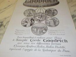 ANCIENNE PUBLICITE SOUPLE CORDE PNEUS GOODRICH 1925 - Transportation