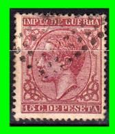 ALFONSO XII IMPUESTO DE GUERRA SELLO AÑO 1877 VALOR 15 Cts.DE PESETA - Usados