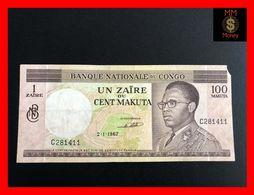 CONGO 100 Makuta  - 1 Zaire  2.1.1967   P. 12 Missing Corner   VF - Democratische Republiek Congo & Zaire