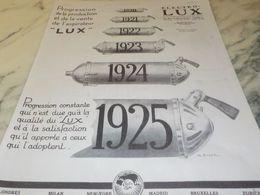 ANCIENNE PUBLICITE PROGRESSION DE PRODUCTION ELECTRO LUX 1925 - Autres