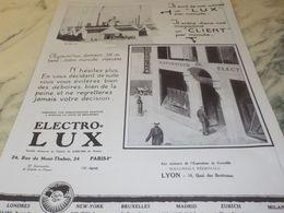 ANCIENNE PUBLICITE UN PAR MINUTES  ELECTRO LUX 1925 - Autres