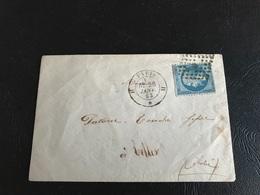 Enveloppe - 1863 - PARIS Pour CELLES SUR OURCE (Aube) Timbre 20c  Y&T N°22 - Marcophilie (Lettres)