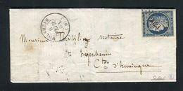 Belle Lettre De Molsheim Pour Hegenheim ( 1853 ) Avec Un N° 4 - 1849-1876: Classic Period