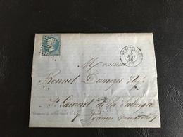 Courrier - 1868 - MONTPELLIER à  ST LAURENT DE SALANQUE Par TARASCON CETTE NARBONNE, Timbre 20c  Y&T N°22 - Marcophilie (Lettres)