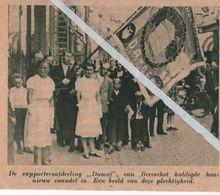 """BEERSCHOT..1938.. DE SUPPORTERSAFDELING """"DAMOF """"HULDIGDE HAAR NIEUW VAANDEL - Vecchi Documenti"""