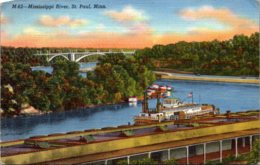 Minnesota St Paul Scene On The Mississippi 1946 Curteich - St Paul