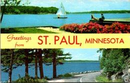 Minnesota St Paul Greetings Showing Sailing Scene - St Paul