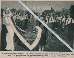 BROECHEM..1939.. DE BOERINNENJEUGD IN DE STOET PASTOORINHALING VAN Z.E.H. VERMIJLEN - Vecchi Documenti