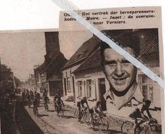 MEIRE..1935.. HET VERTREK BEROEPSRENNERS TE MEIRE / OVERWINNAAR VERNIERS - Vecchi Documenti