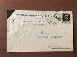 MAZARA DEL VALLO (TRAPANI) FRANCESCO GIAMMARINARO & FIGLI  VINI   UVA     1938 - Mazara Del Vallo