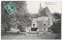 Cpa: 28 PONTGOUIN (ar. Chartres) Château Des Tourelles (animée) Ed. Lagoutte (rare) - Other Municipalities