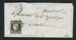 Rare Lettre De Langogne  Pour Mende ( 1849 ) Avec Un N° 3 - 1849-1876: Periodo Clásico