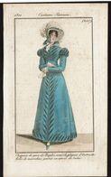 Gravure Originale - Costume Parisien 1821 - N° 2017 - Chapeau Degros De Naples, Robe De Marceline ... - Voir Scan - Sonstige