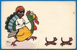 """CPA AK Illustrateur FAL Humour """"Petit Noir"""" Dindon Chats ° M.M. VIENNE N° 244 - Illustratori & Fotografie"""