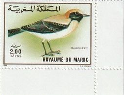 Maroc. 2 Coins D'1 Timbre Chacun Yvert Et Tellier N° 1073-1074 De 1989. Oiseaux. Traquet Du Désert. Alouette Hausse-col - Uccelli Canterini Ed Arboricoli