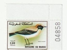 Maroc. 2 Coins Numérotés D'1 Timbre Yvert - Tellier N° 1073-1074 De 1989. Oiseaux. Traquet Du Désert Alouette Hausse-col - Uccelli Canterini Ed Arboricoli