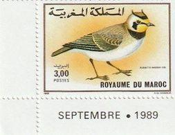 Maroc. 2 Coins Datés D'1 Timbre Chacun Yvert Et Tellier N° 1073-1074 De 1989. Oiseaux. Traquet Du Désert Et Alouette. - Uccelli Canterini Ed Arboricoli
