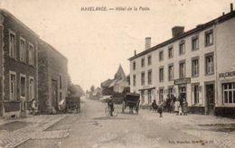 Havelange  Hotel De La Poste Boucherie Cycliste Attelage Animée Circulé En 19???? Plus De Timbre - Havelange