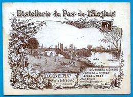 Rare Carte De Visite Commerciale Illustrée 24 Dordogne HOSTELLERIE Du PAS-de-L'ANGLAIS Route De RIBERAC Près PERIGUEUX - Cartes De Visite