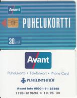 FINLAND - Public Card(Avant Info 0800 9 28268), AVANT Telecard 30 Mk, CN : 1195, Tirage 50000, 10/95, Used - Finlande