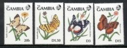 Gambia 1991 Butterflies (4v) MUH - Gambie (1965-...)