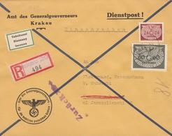 GG: Brief Amt Des GG Krakau-Warschau. Zurück Klebezettel Unbekannt - Besetzungen 1938-45