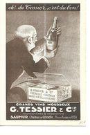 SAUMUR Depliant 4 P   G . TESSIER   CHATEAU DE GRENELLE    HOMME TENANT UNE BOUTEILLE  OH ! C Est D Tessier      DEPT 49 - Saumur