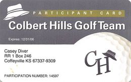 Colbert Hills Golf Team Participant Card 12/31/06 (paper Card) - Autres