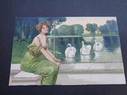 Illustrateur ( 2259 )  Pas Signée -  Femme Art Nouveau - Künstlerkarten