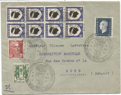 BLASON 10C CORSE BLOC DE 8+30C+ DULAC GANDON LETTRE CACHET ILLUSTRE MUSEE POSTAL PARIS 16 MAI 1947 UPU - 1941-66 Armoiries Et Blasons