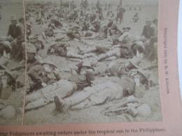 MILITARIA - PHOTO STEREO  USA - Guerre Americano-Philippines - Soldats U.S - 1900  BE - Stereoscopic